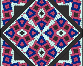 NEW PATTERN, Quilt Medallion Kaleidoscope, Border and Block / Tubular Strip Piecing / Instant Download/ Rita Hutchens