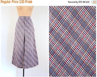 SPRING SALE vintage 1970s bias plaid culottes - 70s bell bottom trousers / 1970s ladies wide leg pants - plaid trousers / 70s collegiate pla