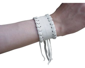 SALE Dirty White Laced Leather Cuff Distressed Leather Fringe Bracelet