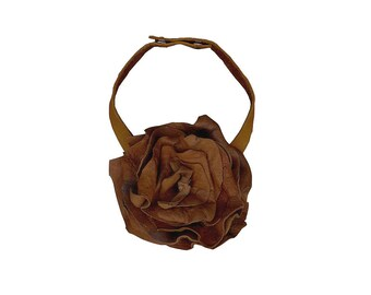 LEATHER FLOWER CHOKER Leather Choker Tobacco Tan Brown Boho Choker Necklace Fashion Tie Ascot Alternative Rustic Leather Accessories only 1