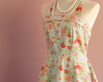 Blue floral bridesmaid dress vintage style halter party tea sundress