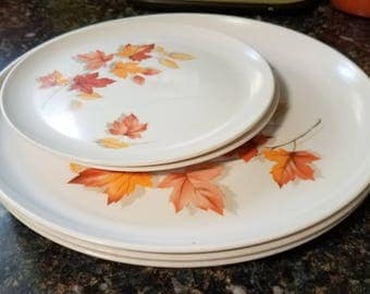 Vintage 1960u0027s Melmac Duraware Dinnerware Plates Autumn Leaves & Etsy :: Your place to buy and sell all things handmade