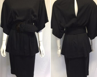 Vintage 80s Black Jersey Dress by Barbra