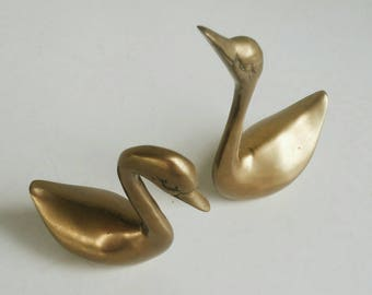 Pair of Brass Swans - Brass Birds Set of 2 - Decorative Brass Swan Figurines