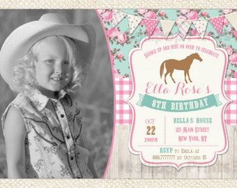 Cowgirl Birthday Invitation - Shabby Horse Invitation - Horse Birthday Invitations - DIY Custom Printable - Cowgirl Party