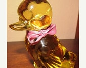 GIVING THANKS SALE Vintage Deep Yellow Fenton Duck with Pink Bow and Original Sticker