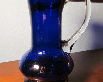 Vintage Cobalt Blue Pitcher with Clear Handle Made in Romania