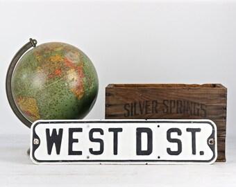 Vintage Street Sign, Metal Street Sign, Old Street Sign, Black And White Street Sign, Industrial Decor, Old Sign, Traffic Sign, West D St.