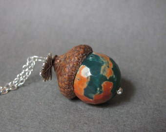 Green and Orange Agate Real Acorn Charm Sterling Silver Necklace with Oak Leaf