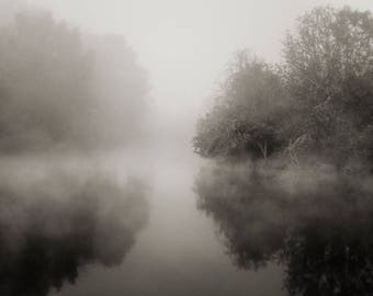 landscape photography, black and white photography, sepia photography, lake house decor, lake photography, river photography, foggy