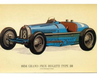 Vintage Motor Car - Motor Vehicle - 1934 Grand Prix Bugatti Type 59 - Original Vintage PoSTCARD