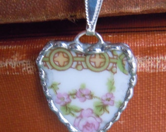 Fiona & The Fig Antique PINK ROSES-Broken China Soldered Necklace Pendant Charm- Jewelry