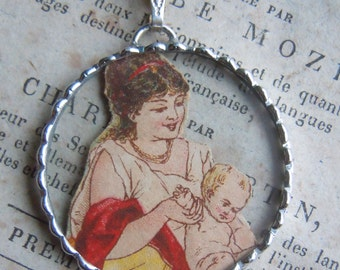 Fiona & The Fig - Victorian Era Scrap-Mother and Child - Soldered Charm - Necklace - Pendant-Jewelry