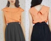1950s 50s Vintage Coral Blouse//Vintage Pinup VLV 50s Button Down Back Blouse//Pinup Tie Shoulder blouse Large L