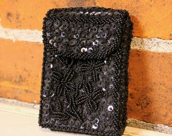 Vintage Retro Hollywood Black Satin BEADED Sequin Floral Design Kings / Shorts CIGARETTE Soft Case - Made in Hong Kong