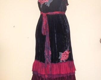 "20%OFF bohemian gypsy formal boho wedding gown silk velvet dress ...smaller to 36"" bust.."