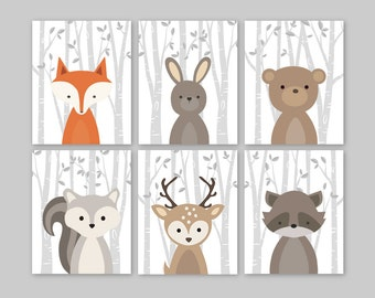 Fox Animal Wall Art Print Nursery Decor Woodland Nursery Forest Animals Baby Woodland Decor bunny rabbit deer bear raccoon squirrel Set of 6