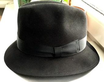 Vintage Black Wool Felt Trilby Fedora Hat Germany Patterson Boho Westworld Boy's Girl's 1960s