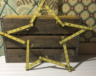 Ruler Star Vintage Ruler Repurposed Christmas Decor Yellow Star Carpenter Ruler Holiday