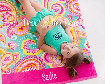FREE monogramming - PAISLEY Personalized Monogrammed Embroidered Mint Hot Pink PAISLEY Beach Towel