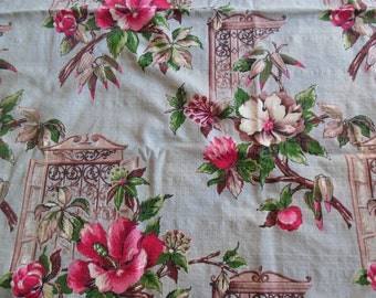 Floral Barkcloth Fabric, Pink Floral on Trellis, Lots of Color