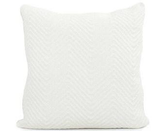 White Chevron Knit Pillow Cover, 18x18, 20x20, 22x22 Euro or Lumbar, White Pillow, Throw Pillow, Accent Pillow Cushion, Streamline Infinity