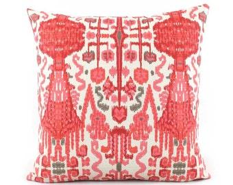 Pink Red Ikat Pillow Cover, 18x18, 20x20, 22x22 Eurosham or Lumbar Pillow, Hot Pink Pillow, Throw Pillow, Nursery Accent Pillow, Bombay