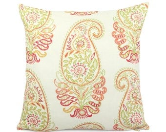 Red Green Orange Cream Paisley Pillow Cover, Square and Lumbar, Colorful Floral Pillow Cushion Cover, Ivory Accent Pillow, Jada Harvest