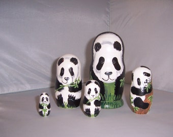Hand painted Panda Collection stacking nesting doll set