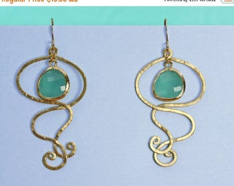 20% off. Swirl  chandelier aqua drop earrings in gold and framed aqua faceted crystal