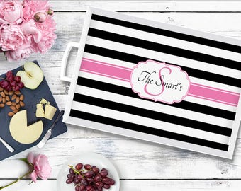 Personalized Tray - Wedding gift for Couple - Serving Tray - Hostess Gift - Stripes Design Serving Tray - Family Tray