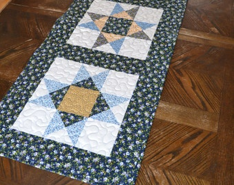 Quilted Table Runner, Lodge Decor Table Center, Blue Gold Star, Little House on the Prairie fabric