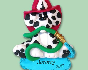 Dalmatian FIREMAN Limited Edition HANDMADE Polymer Clay  Personalized Christmas Ornament  - Matte Finish