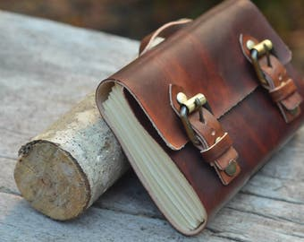 "Leather Journal / Handmade / Diary / Notebook / 6""X4"" LINED or plain"