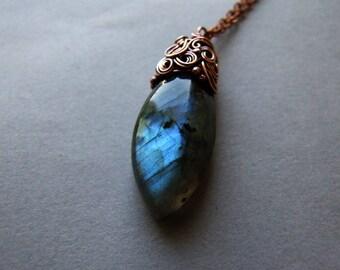 Labradorite Necklace, Wire Wrapped Boho Necklace, Labradorite Jewelry, Labradorite Necklace