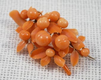 Antique 1850's Carved Coral and 14k Gold Peach Fruit, Leaves and Branch Brooch