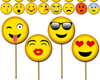 Emoji Photo Props, Printable Photo Booth Props, Smiley Party Props, Emoji Faces Party Props - DP417