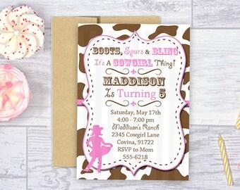 SALE Cowgirl Invitation Cowgirl Invite 5x7 Jpeg DIGITAL File
