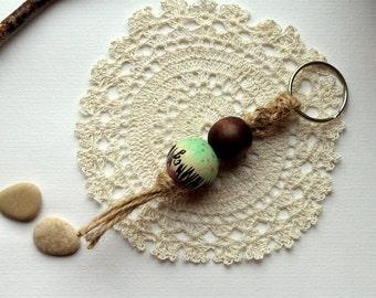 Keychain wood beads hand painting macrame green lilac