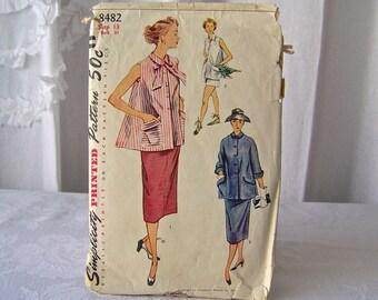 Vintage Simplicity Maternity Pattern 1950s Misses Skirt Jacket Shorts Vintage Sewing Room