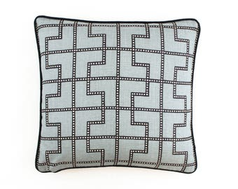 ON SALE Schumacher Celerie Kemble Bleecker Pillows in Twilight with Black Welting (Both Sides - 18 X 18)