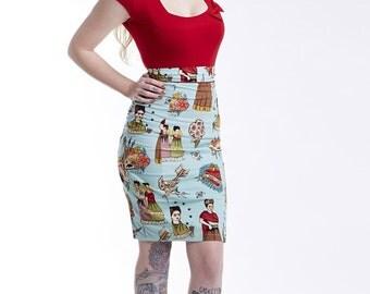 Blue Frida Pencil Skirt
