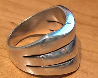 Danish MODERNIST STERLING Silver Band Ring Size 9 Stripes Wide Large Heavy 12 Grams