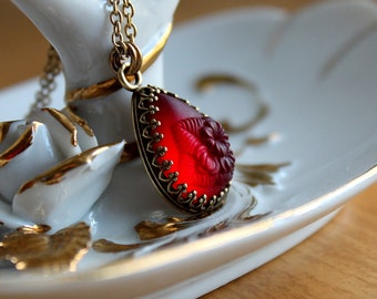 Romantic Red Frosted Flower Necklace - Vintage Deep Red Glass Floral Pendant