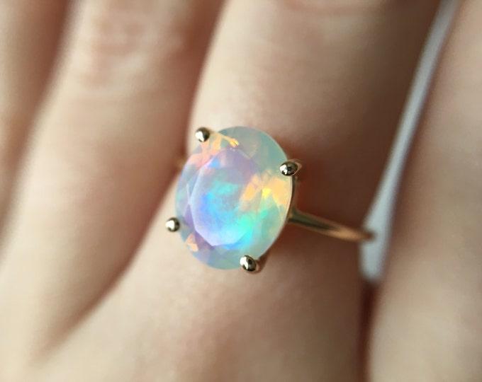 Faceted Ethiopian Opal Ring - 14k rose gold opal ring - faceted welo opal ring - opal engagement ring - 14k gold opal ring