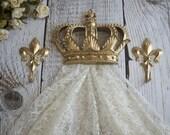 Gold Crown Canopy Bracket Set, Nursery Crown Decor, Princess Canopy Set, Gold Wall Crown, Fleur dis Lis, Princess Bedroom, Gold Crown