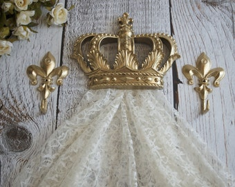 Gold Crown Canopy Bracket Set, Nursery Crown Decor, Princess Canopy Set, Gold Wall Crown, Fleur dis Lis, Princess Bedroom, Gold Crown