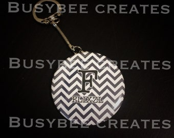 Personalize Modern Chevron - Custom Neutral Gift Ideas - Handmade Button Pins with Initials - Custom Keychain or Magnets- 10 pieces +