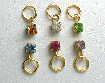 Nail Dangle Six 4mm Rhinestones in Different Colors