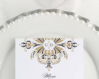 Gold Wedding Menu, Printable Menu, Gold Menus, Gold Monogram, Event Menu, Formal Event, Dinner Menu, Reception Menu